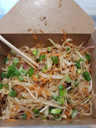 Cleckheaton, UK: Pad Thai, all dishes are served in a carton type box. You can choose chop sticks or a fork and s
