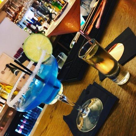 Alderley Edge, UK: 'Blue Lobster' and 'Pornstar Martini' cocktails