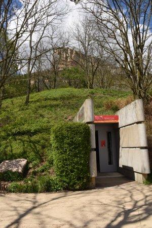 Solutre-Pouilly, Frankrijk: L'entrée du Musée est peu visible de l'extérieur. L'intégration paysagère au coeur de sa concept