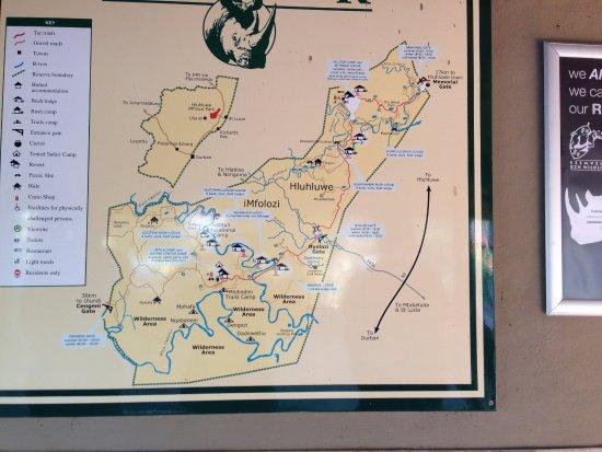 Zululand, Zuid-Afrika: Park Info for Hluhluwe Imfolozi Reserve