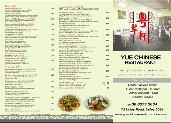 yue chinese restaurant new takeaway menu with description