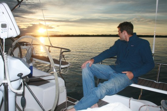 Sag Harbor, NY: Captain Eric taking in the sunset