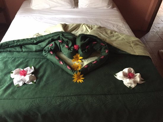 Finca Luna Nueva Lodge: Lovely native flower arrangement on our bed!