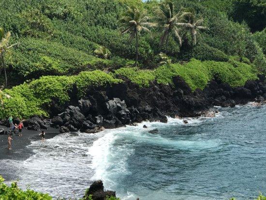 Wailuku, Hawái: Black sand beach - road to Hana