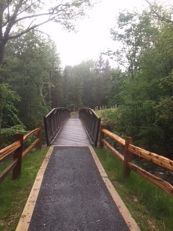 Haines Falls, NY: pedestrian bridge to far side of upper falls, handicapped accessible