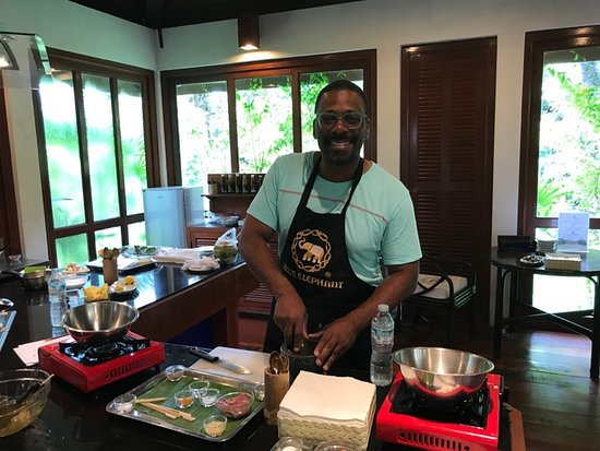 Blue Elephant Cooking School: Whipping up delicious Thai food.