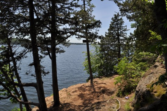 Colchester, Vermont: Red rock outcrop, with views of the bay