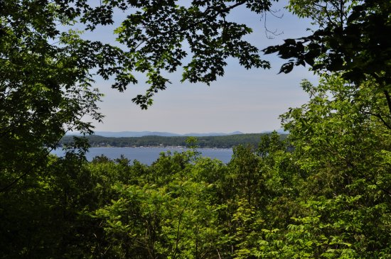 Colchester, VT: Bay viewpoint from within the forest