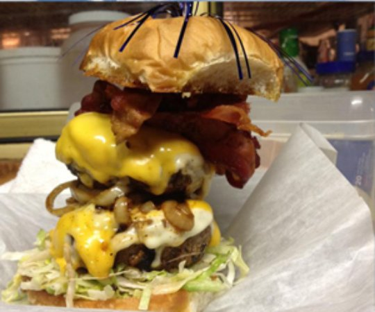 Arnolds Park, IA: Now that's a burger!  Home of the Lue Burger, #theritzokoboji!