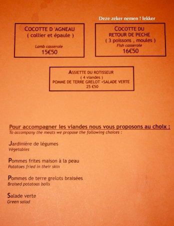 Le Boujaron Restaurant Rotisserie BAr: kaart menu