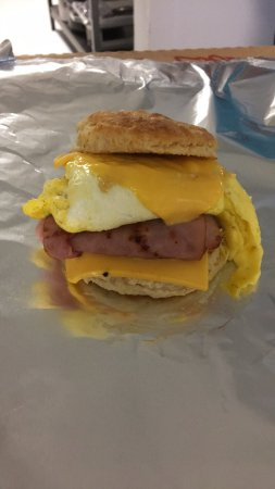 Cafe 33: Ham, Egg, and Cheese Biscuit