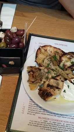 Mildreds: grilled artichokes with vegan aioli