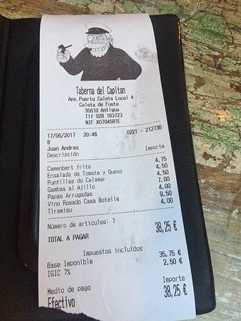 La Taberna del Capitan : Menu last week & our bill