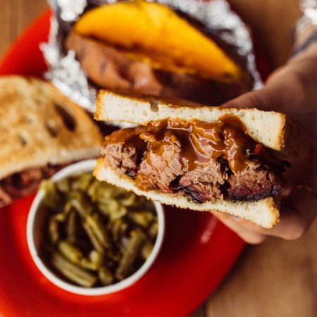 Neptune Beach, FL: BarBQ sandwich with green beans & baked sweet potato
