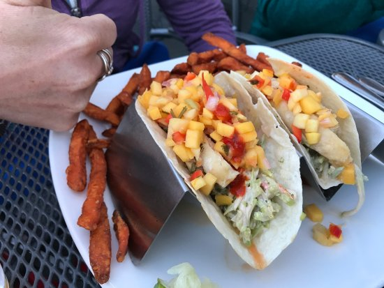 East Greenwich, RI: Fish tacos with sweet potato fries