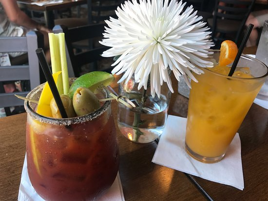 Cafe Berlin : A spicy bloody mary and orange juice