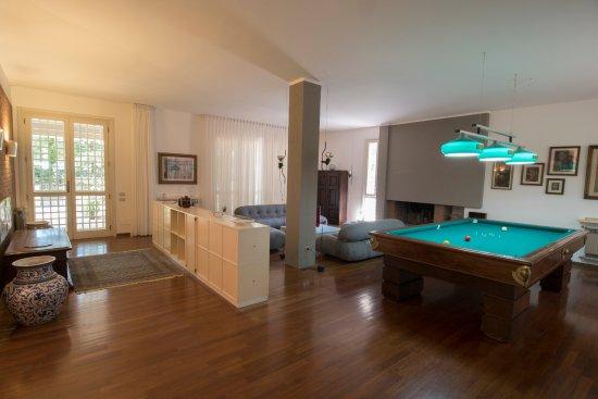 Bientina, إيطاليا: Sala comune con divani, camino e biliardo 