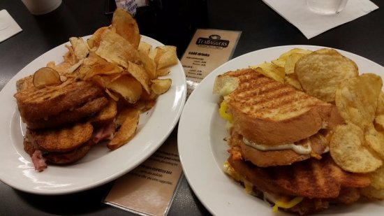 Urbana, OH: Left: Panini Your Way: Ham, Mozzarella and Black Olive Panini. Right: Greek Panini.