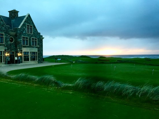 Sunset over the 18th Green at Doonbeg.
