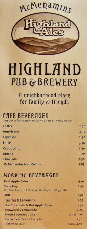 Gresham, OR : Beverage Menu