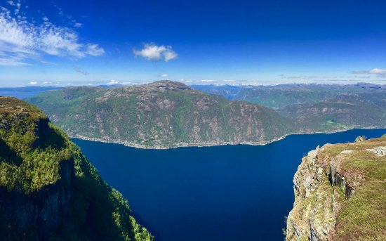 Hjelmeland Municipality, Norway: The blue fjord down below is tempting