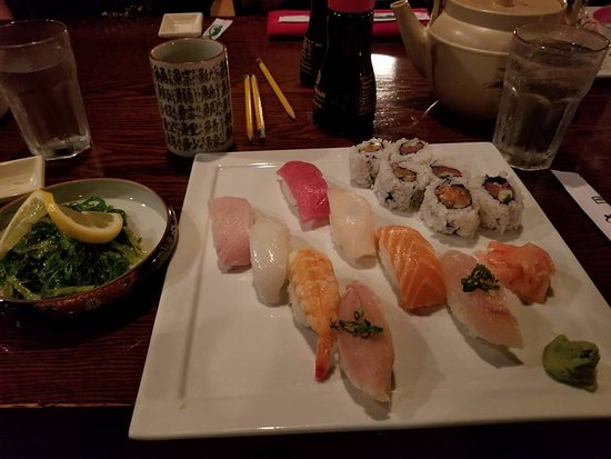 Appleton, WI: The sushi dinner, 8 pieces plus roll