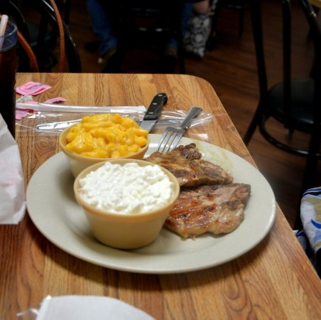 Cana, VA: Center Cut Pork Chops with Mac and Cheese and Cottage Cheese