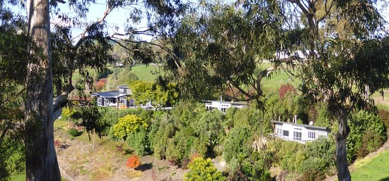 Havelock North, Nuova Zelanda: view from side  of hill on property looking back to 3 cottages