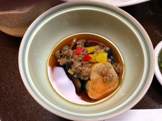 Ryokan Shimizuya: 鮟肝に肉そぼろと茄子,しめじ。珍味風