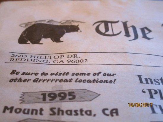 Black Bear Diner - Mt. Shasta : paper/menu