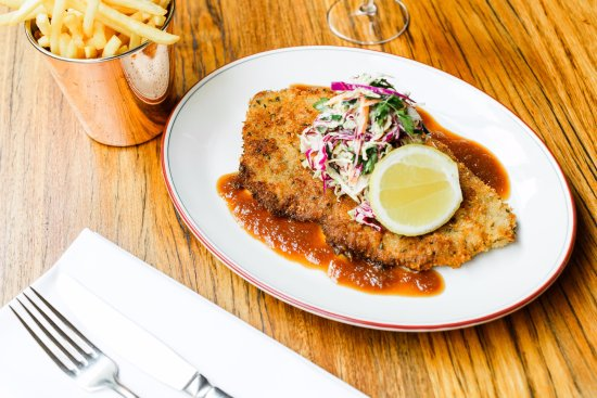 Brighton, Australia: Veal schnitzel crumbed with hot mustard slaw