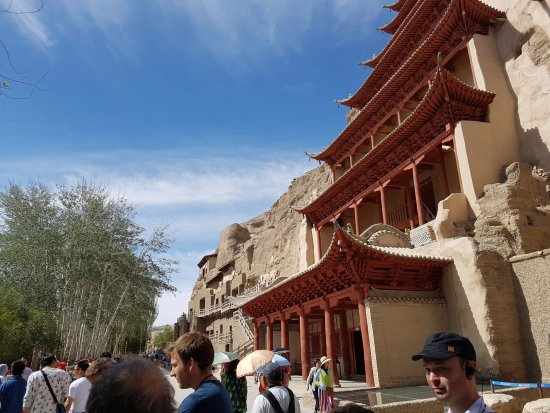 Dunhuang, China: The facade of the Mogao caves