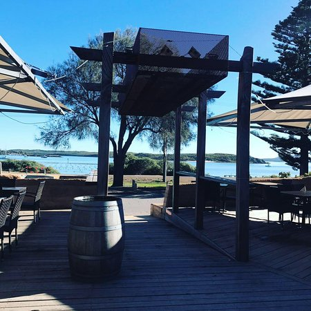 1802 Oyster Bar & Bistro: The 1802 deck overlooking the oyster leases of Coffin Bay
