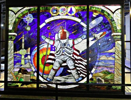 Hutchinson, KS: This is a wall size stained glass panel at the museum.