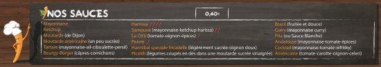 Aubagne, France: Les différentes sauces que nous proposons