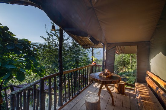 Mangan, India: The deck at the single luxury tent unit
