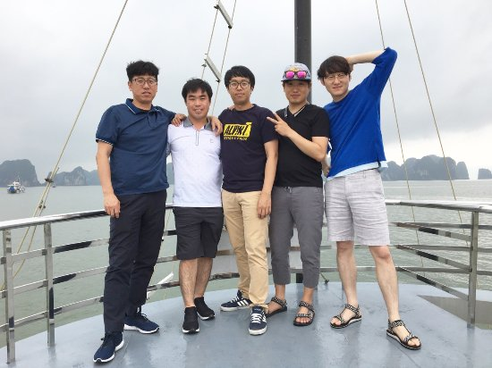Hai Phong, Vietnam: Korean group on board, Ha Long bay
