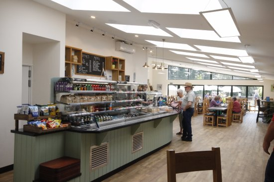 Crediton, UK: The cafe counter and interior