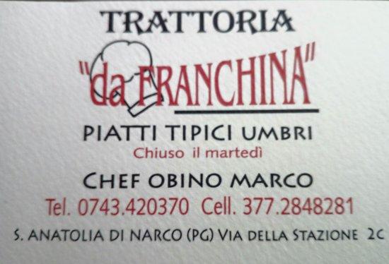 Sant'Anatolia di Narco, Italia: Trattoria Pizzeria da Franchina