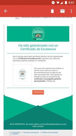 Sayalonga, Spanien: Certificado de excelencia 2017 otorgado a Mesón Morisco