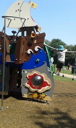 Riverside Country Park: pirate ship climbing frame