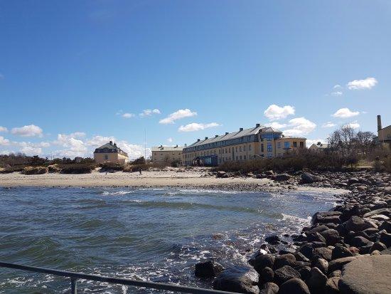 Varberg, İsveç: Vy från bryggan utanför bastun