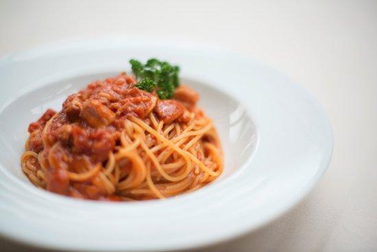 La Veranda Hotel Posta: Spaghetti all'amatriciana