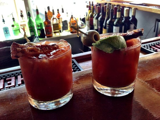 Woods Hole, MA: Bloody Mary's with bacon at Quicks Hole Tavern.