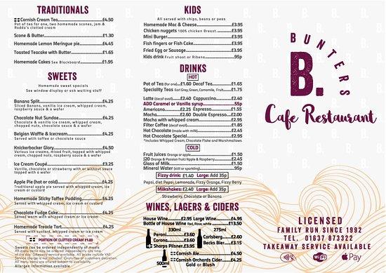 Bunters: 2017 menu