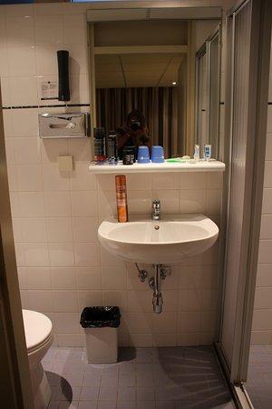 Бекберген, Нидерланды: Dit was onze badkamer gezien vanuit de deuropening met links het toilet en rechts douchekabine.