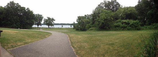Chelsea, MI: Portage Lake, view from top of hill with walkway to beach