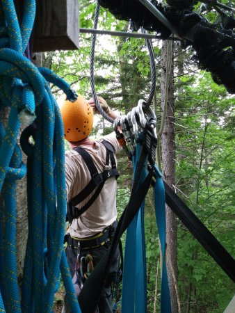 Bretton Woods, Nueva Hampshire: Take from tree platform. You're always clipped in.