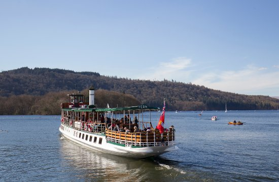 Windermere Lake Cruises: Steamer MV Tern heading out from Bowness Pier. She is our oldest vessel, built in 1891.