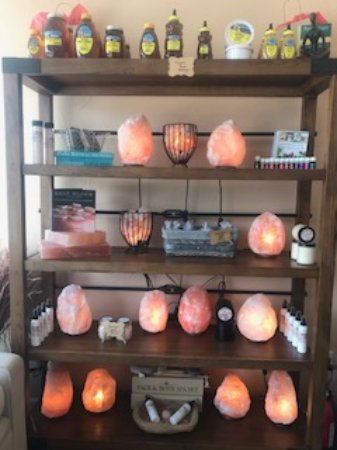 Southlake, TX: Salt lamps and salty products for sale.
